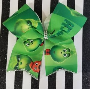 Girls christmas grinch large hair bow